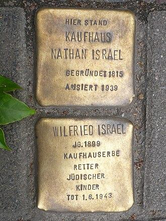 Wilfrid Israel - Tribute plaque, Berlin