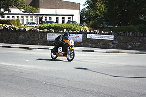 St Ninian's Crossroads - Ken Davis at St Ninian's Crossroads during the 2010 Manx Grand Prix, Junior Classic