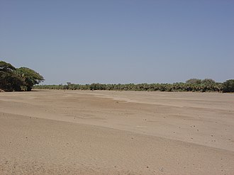 Water supply and sanitation in Kenya - The Kerio River in the Rift Valley during the dry season.
