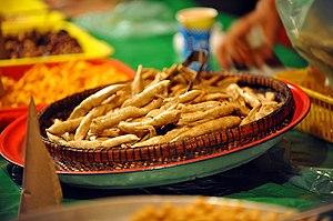 Krupuk - Keropok lekor in Terengganu, Malaysia. Most keropok in this country are made from fish.