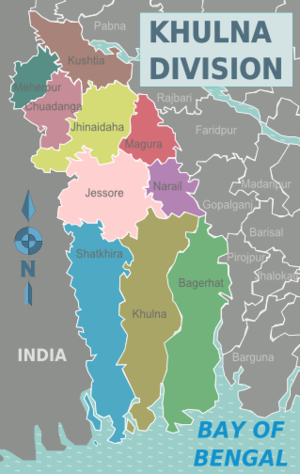 Khulna Division - Image: Khulna Division districts map