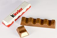 A Kinder Chocolate bar split