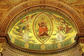 King's College London Chapel - Apse roof, depicting Christ in Majesty surrounded by angels