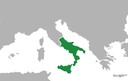 The Kingdom of the Two Sicilies (green).