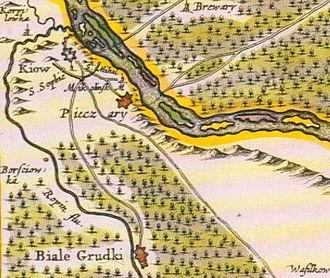 Kiev Voivodeship - Kiev (Kiow) A fragment of piece Tractus Borysthenis Vulgo Dniepr at Niepr dicti. map by Joannii Janssonii (Amsterdam, 1663).