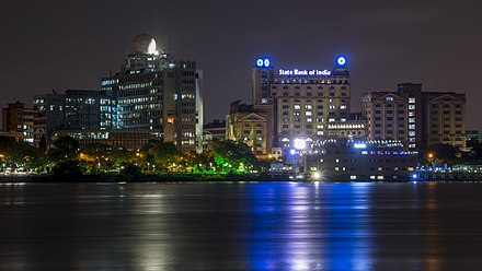Kolkata riverfront at night Kolkata skyline at night.jpg