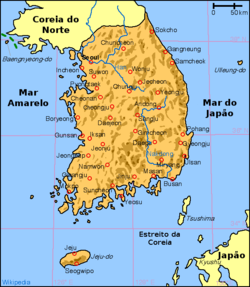 Mapa da Coreia do Sul