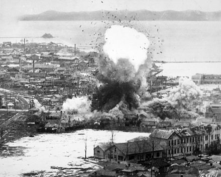 B-26 Invaders bomb logistics depots in Wonsan, North Korea, 1951 Korean War bombing Wonsan.jpg