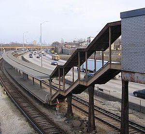 Kostner station (CTA Congress Line) - The abandoned platform at Kostner in March 2008