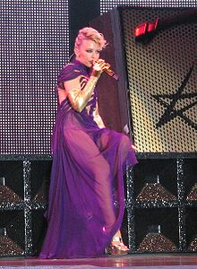 Kylie Minogue performing during her KYLIEX2008 tour.