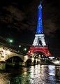 La tour Eiffel illuminée en bleu blanc rouge - Fluctuat nec Mergitur - Liberté, égalité, fraternité (22564320294).jpg