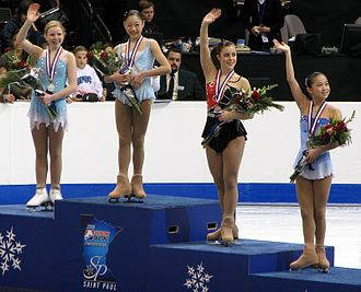 U.S. Figure Skating - The senior ladies podium at the 2008 U.S. Championships. Gold: Mirai Nagasu; Silver: Rachael Flatt; Bronze: Ashley Wagner; Pewter: Caroline Zhang.