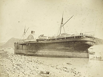 Pacific Mail Steamship Company - SS Alaska, after being blown ashore during the 1874 Hong Kong Typhoon. Photo by Lai Afong.