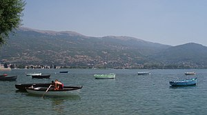 Lake Ohrid seen from the old city of Ohrid