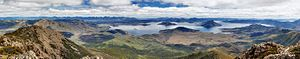 Lake Pedder - Panoramic view of the 'new' Lake Pedder from Mount Eliza, Southwest National Park, Tasmania, Australia