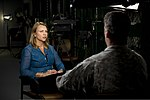 """Lara Logan with CBS's """"60 Minutes"""", sits with U.S. Army Sgt. 1st Class Chris Corbin, assigned to the 7th Special Forces Group (Airborne), before conducting an interview at Eglin Base Air Force Base, Fla., March 130318-A-YI554-748.jpg"""