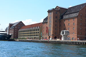 Larsens Plads - The historical warehouses along Larsens Plads viewed from the water.
