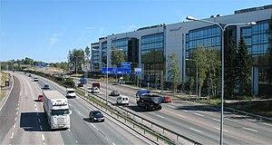 Transport in Finland - Office buildings line Kehä I in Pohjois-Haaga, Helsinki.