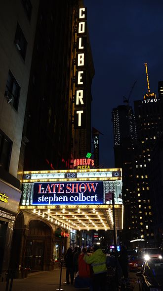 Ed Sullivan Theater - The Ed Sullivan Theater with The Late Show with Stephen Colbert marquee