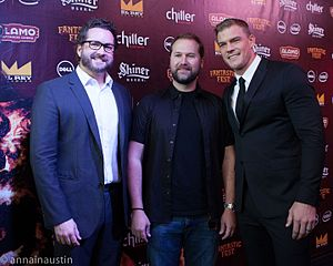 Burnie Burns - Burns with director Matt Hullum and co-star Alan Ritchson at the premiere of Lazer Team