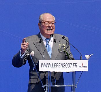 English: Jean-Marie Le Pen speaking at his Nat...