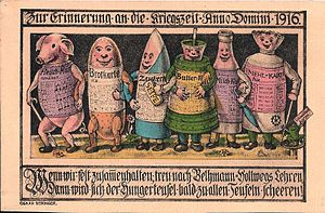 Rationing - First World War German government propaganda poster describing rationing with personifications of pork, bread, sugar, butter, milk and meal (1916)