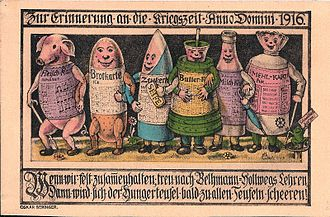 Rationing - First World War German government propaganda poster describing rationing with personifications of meat, bread, sugar, butter, milk and meal (1916)