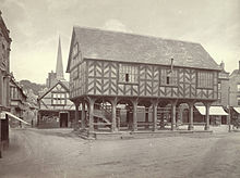 A Victorian photo circa. 1865 - 1880 of a similar market hall in Ledbury, Herefordshire