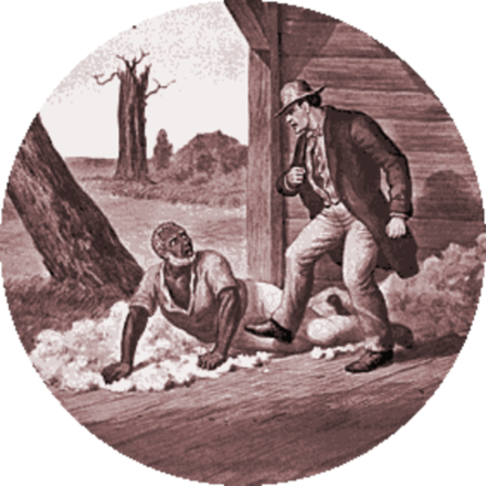 Simon Legree and Uncle Tom: A scene from Uncle Tom's Cabin (1852), history's most famous abolitionist novel Legree.png