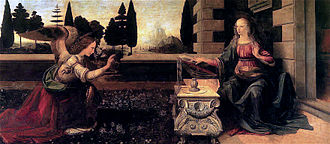 1470s in art - Leonardo da Vinci, Annunciation (1475–1480), Uffizi, thought to be Leonardo's earliest complete work