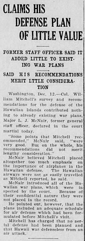 Newspaper account of McNair testimony at Billy Mitchell's 1925 court-martial