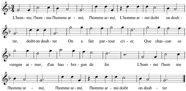 "The tune ""L'homme armei"""
