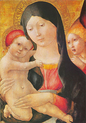 Liberale da Verona - Mary with child and angel. Museum of Fine Arts, Budapest, Hungary