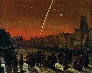 Staartster (komeet) boven Rotterdam