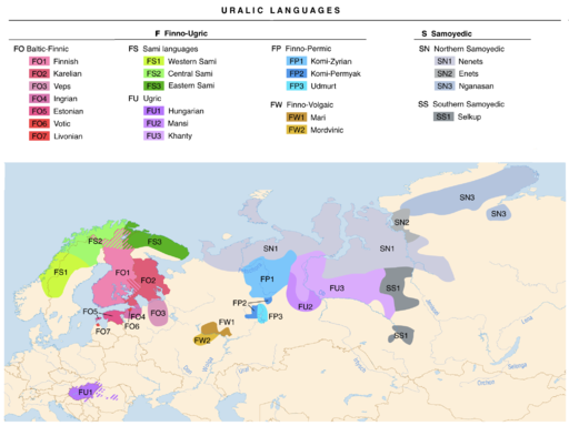 Linguistic map of the Uralic languages (en)