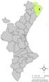 Localització de Càlig respecte del País Valencià.png