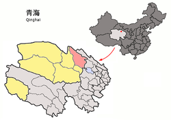 Location of Tianjun County (red) within Haixi Prefecture (yellow) and Qinghai