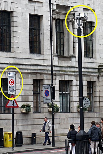 London congestion charge - CCTV cameras used to monitor vehicles entering the congestion charge zone (CCZ) boundary.