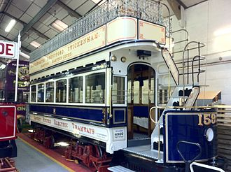 London United Tramways - Preserved tramcar 159 in the depot at Crich