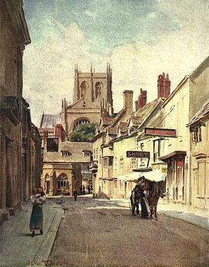 """Walter Tyndale - Long Street, Sherborne (The location for the """"Sherton Abbas"""" of the """"Wessex"""" novels of Thomas Hardy)"""