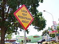 Look Out Pedestrians About sign in Parkes NSW.jpg