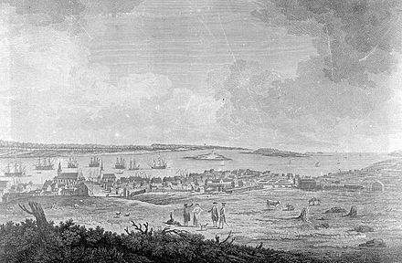 Wooden palisade erected along Dartmouth in response to the raid on Dartmouth, opposite side of the harbour from the Great Pontack, during Father Le Loutre's War, 1759. Looking down Prince Street, Halifax, Nova Scotia, Canada, 1759.jpg