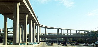 Trade route - High-capacity freeway interchange in Los Angeles, California.