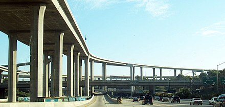 The built environment of an automotive city, the Los Angeles Freeway Interchange.