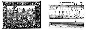 Luis de Narváez - Title page and a music excerpt from Los seys libros del delphín