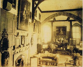 Loton Park - The hall circa 1870. From an album of an uncle and aunt of the Leightons of the day. Showing on the far wall is Sir Joshua Reynolds' Frances Anne Crewe (miss Greville), as St. Genevieve, c1773.