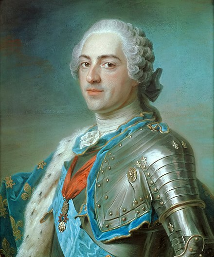 Louis XV of France by Maurice Quentin de La Tour (1748), pastel painting Louis XV ;Carle van Loo.jpg