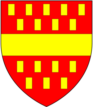 William Bourchier, 1st Count of Eu - Arms of Louvain of Little Easton: Gules billety or a fess of the last