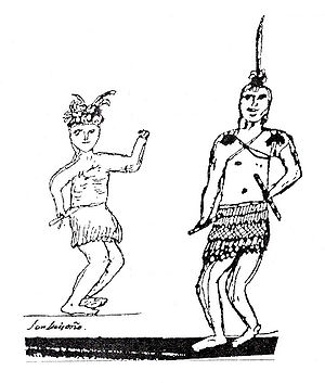 Luiseño - Drawing of Luiseño men in traditional dance regalia, by Pablo Tac (Luiseño, 1822–1844)