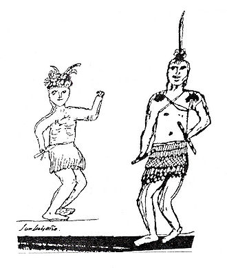 Pablo Tac - Tac made this drawing depicting two young men wearing skirts of twine and feathers with feather decorations on their heads, rattles in their hands, and (perhaps) painted decorations on their bodies.